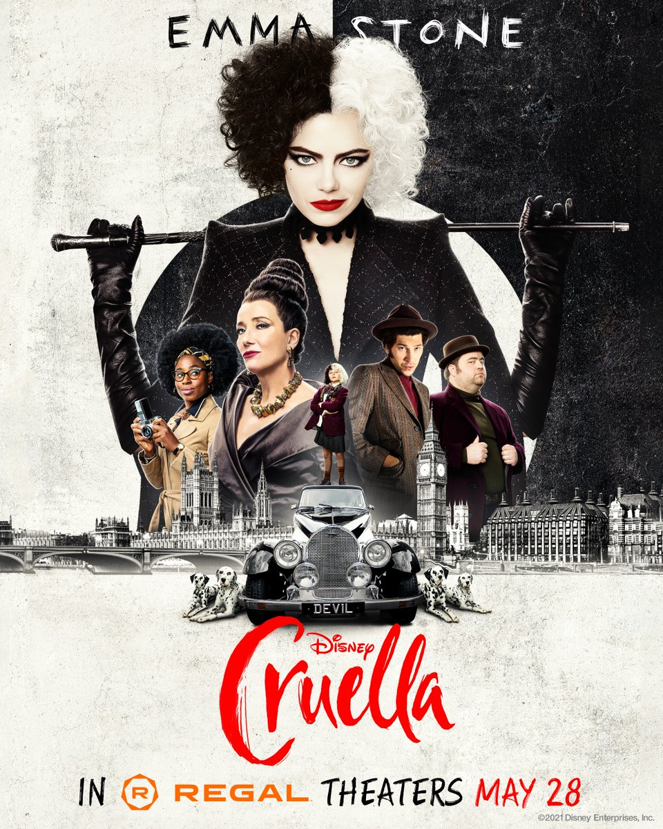 """Regal's tweet - """"This exclusive #Cruella poster = 😍😍😍. Tickets are now  on sale! """" - Trendsmap"""