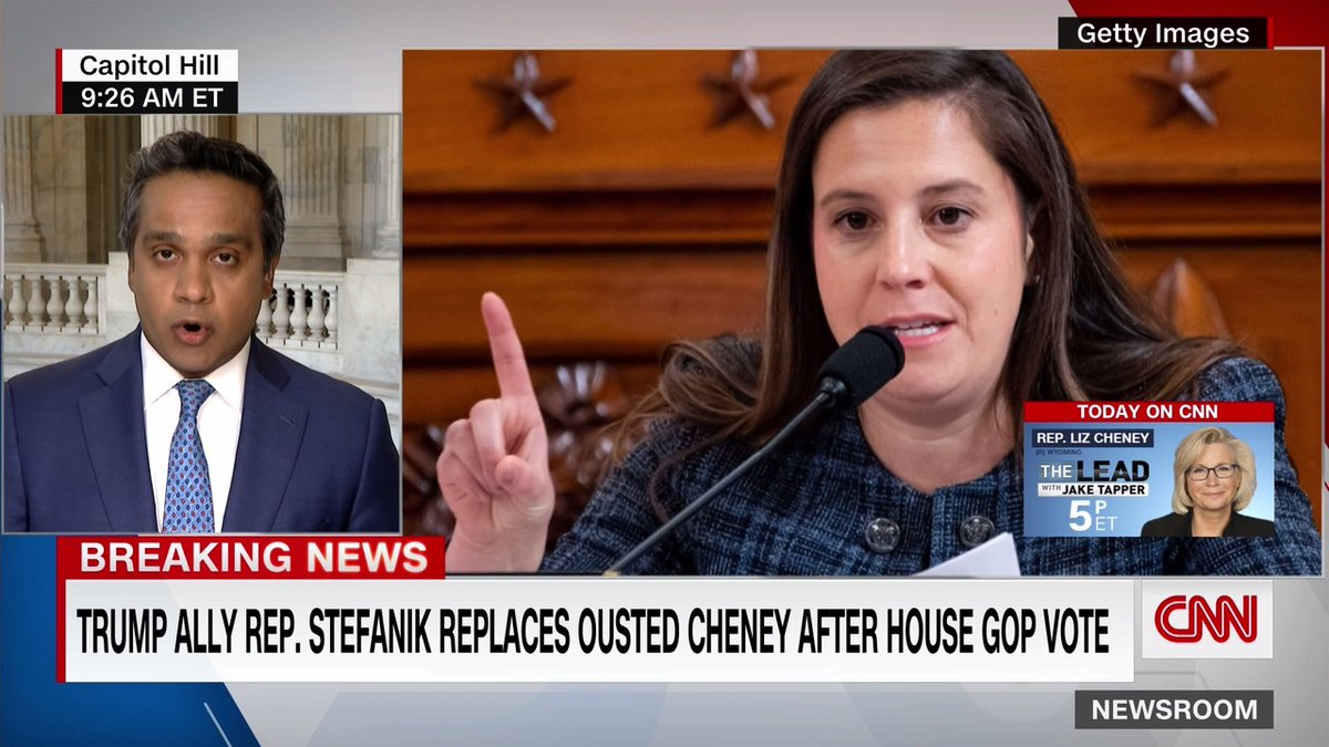 House Republicans voted to elevate Rep. Elise Stefanik to the No. 3 leadership position of conference chair after ousting Rep. Liz Cheney from the role over her opposition to former President Trump.