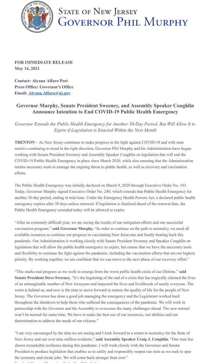 Today, I am announcing with @NJSenatePres and @SpeakerCoughlin that the Public Health Emergency, which I am extending today, will be allowed to expire if legislation is enacted within 30 days to give my Administration the tools to manage the pandemic and continue vaccinations.