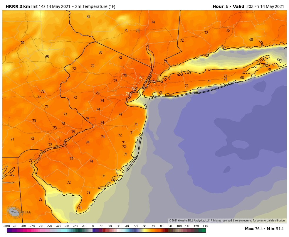 Friday's Weather Rating: 10/10  Excellent weather for NYC metro! Highs will be in the mid 70s!   #njwx #nywx #ctwx #pawx