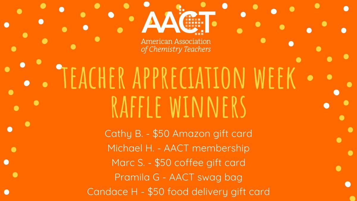 RT @AACTconnect: Congratulations to the winners of our Teacher Appreciation Week raffle! https://t.co/5kBAxm3kYe