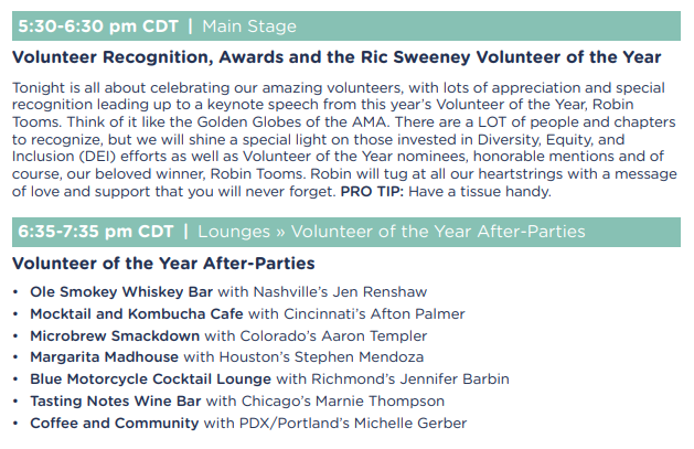 In just a few minutes, on the Main Stage, we'll honor our volunteers with lots of appreciation and recognition leading up to a keynote speech from this year's Volunteer of the Year, @amahouston's @rtooms.  Congrats to Robin and all our other #AMAzing honorees! #AMASummit #AMAFlex
