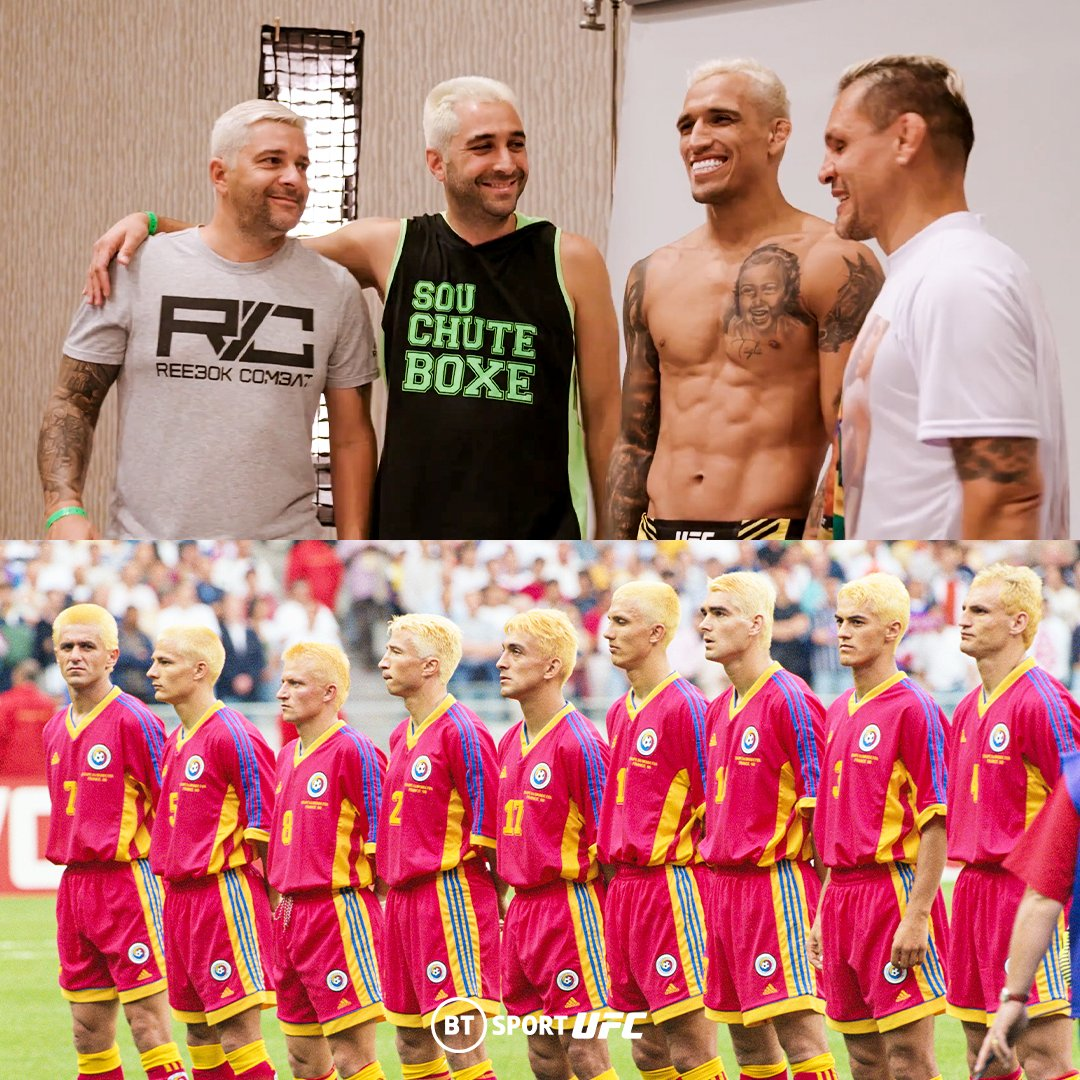 The entirety of @CharlesDoBronxs' team has gone with the bleach blonde look.  The UFC's tribute to Romania's 1998 World Cup squad 🇷🇴 https://t.co/b79BH2Jr8k