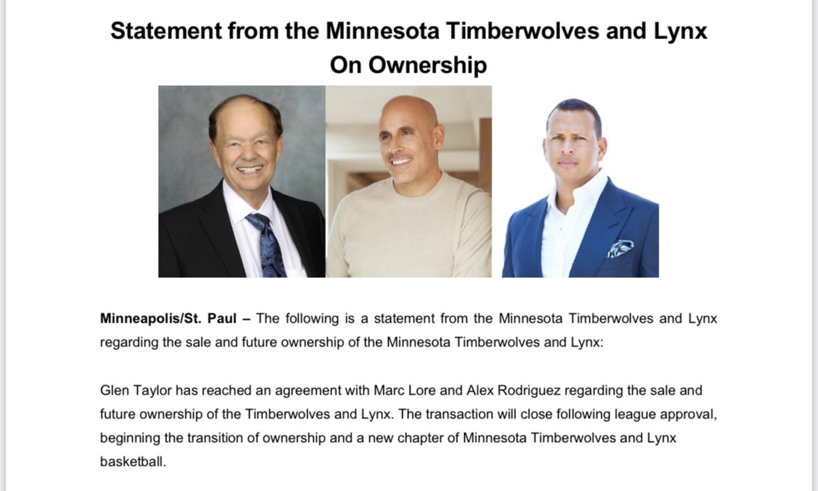 RT @ShamsCharania: Official statement on Minnesota Timberwolves sale to Alex Rodriguez and Marc Lore: https://t.co/cpoZPFHFFr