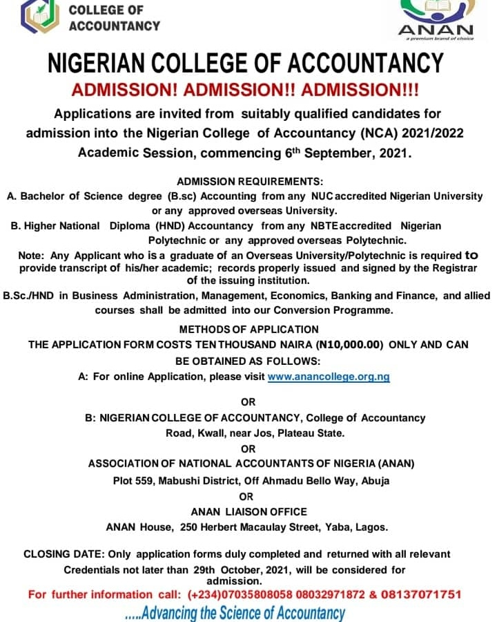 ANAN Admission into Nigeria College of Accountancy NCA