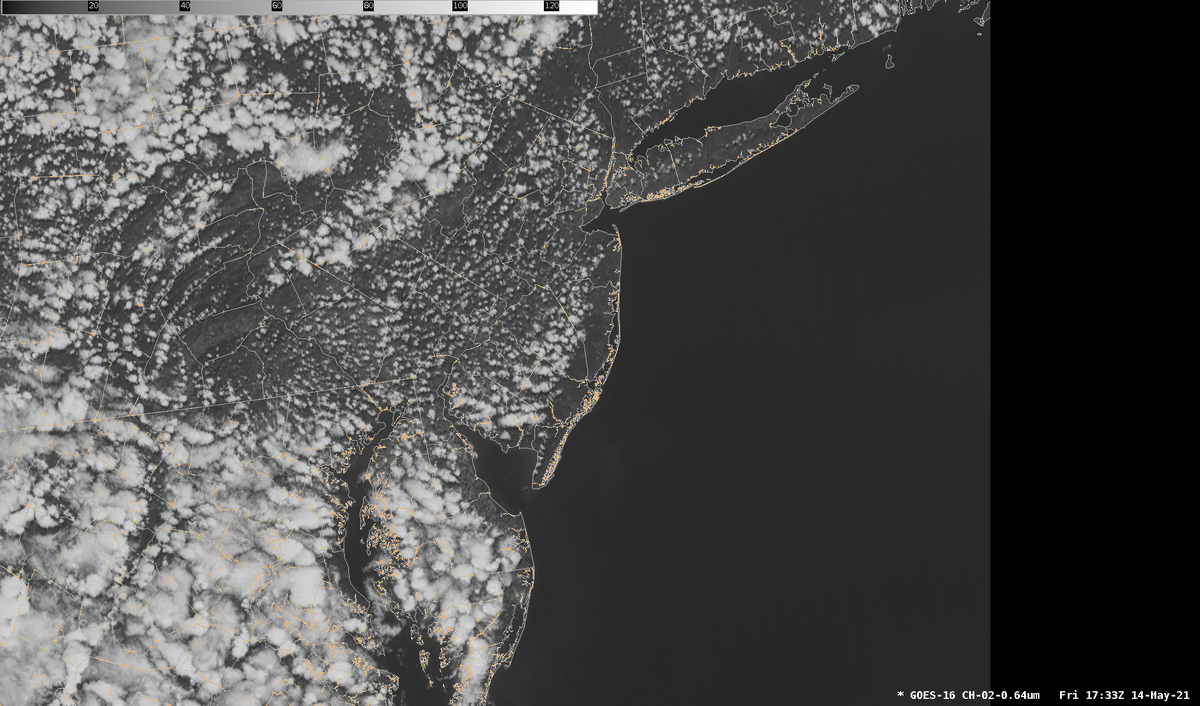 It is visible satellite imagery time. Can you locate where the sea breeze and the Delaware Bay breeze are? The clouds over land are due to the much warmer temperatures, compared to over the water where it is much cooler and stabilizing. #njwx #dewx #pawx #mdwx