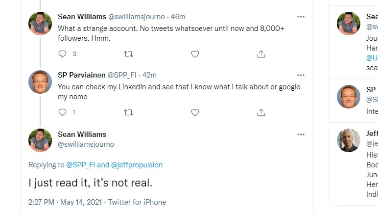 Ladies and gentlemen, I give you the investigative skills of Sean Williams. He just accused a former Secretary for Finland's Foreign Affairs of not being real. 👇Now wait for it, this is going to be fun. https://t.co/Nro7mceNvn