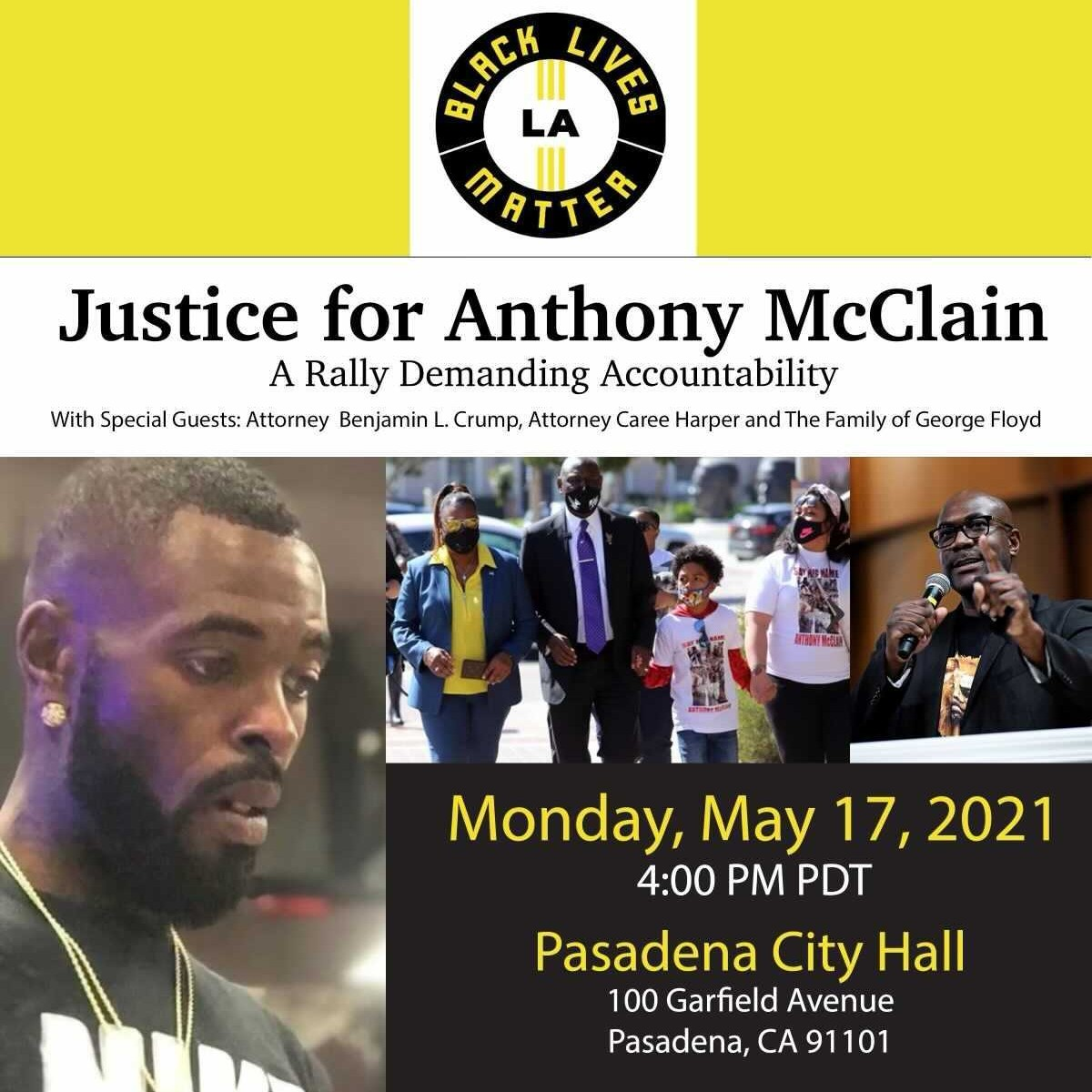 Join me AND surprise guests on Monday, May 17th in Pasadena, CA as we rally for justice for #AnthonyMcClain! We must hold @PasadenaPD accountable for Anthony's unjustifiable death after they shot him in the BACK! https://t.co/mbycnkJxsR