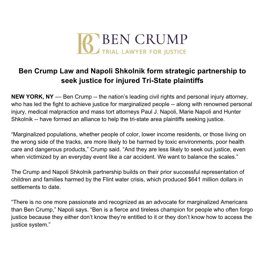 NEWS ALERT: @AttorneyCrump & @NapoliShkolnik have formed a strategic partnership to seek justice for injured Tri-State plaintiffs. https://t.co/L3B8KZN2Op