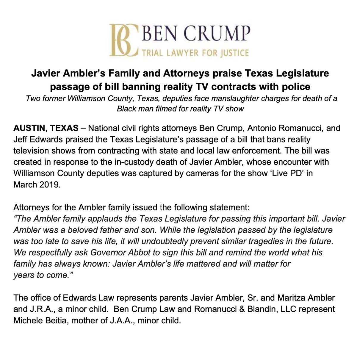 NEWS ALERT: Javier Ambler's family, @AttorneyCrump, & co-counsels praise Texas legislature passage of bill banning reality TV contracts with police.