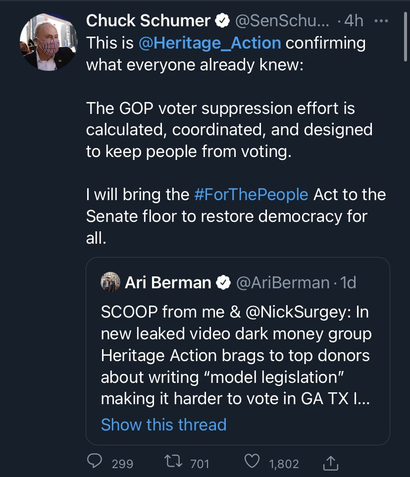 Senate Dems are on message today you love to see it. #ForThePeopleAct is popular and it's time to apply pressure. Bring it to the floor Chuckster. Manchin and Sinema have no excuse the bill is popular in their states. Let's get the voting rights filibuster carve out done. https://t.co/1sUmr3UeGs