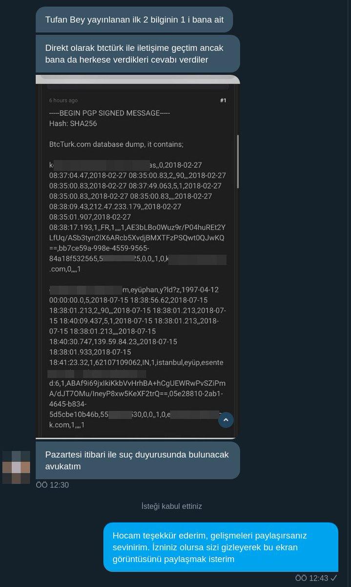 @btcturk @btcturkpro @BtcTurkDestek @GuneriOzgur @keremtibuk Artık hacklenmedik demeye yüzlerinin olduğunu sanmıyorum. Verilerin gerçek kullanıcılara ait olduğunu ispatladık. Muhtemel açıklamalar;  Uzun zaman önce hacklenmiştik. Çalışanlarımızdan sızıntı var.  Kandırıldık.