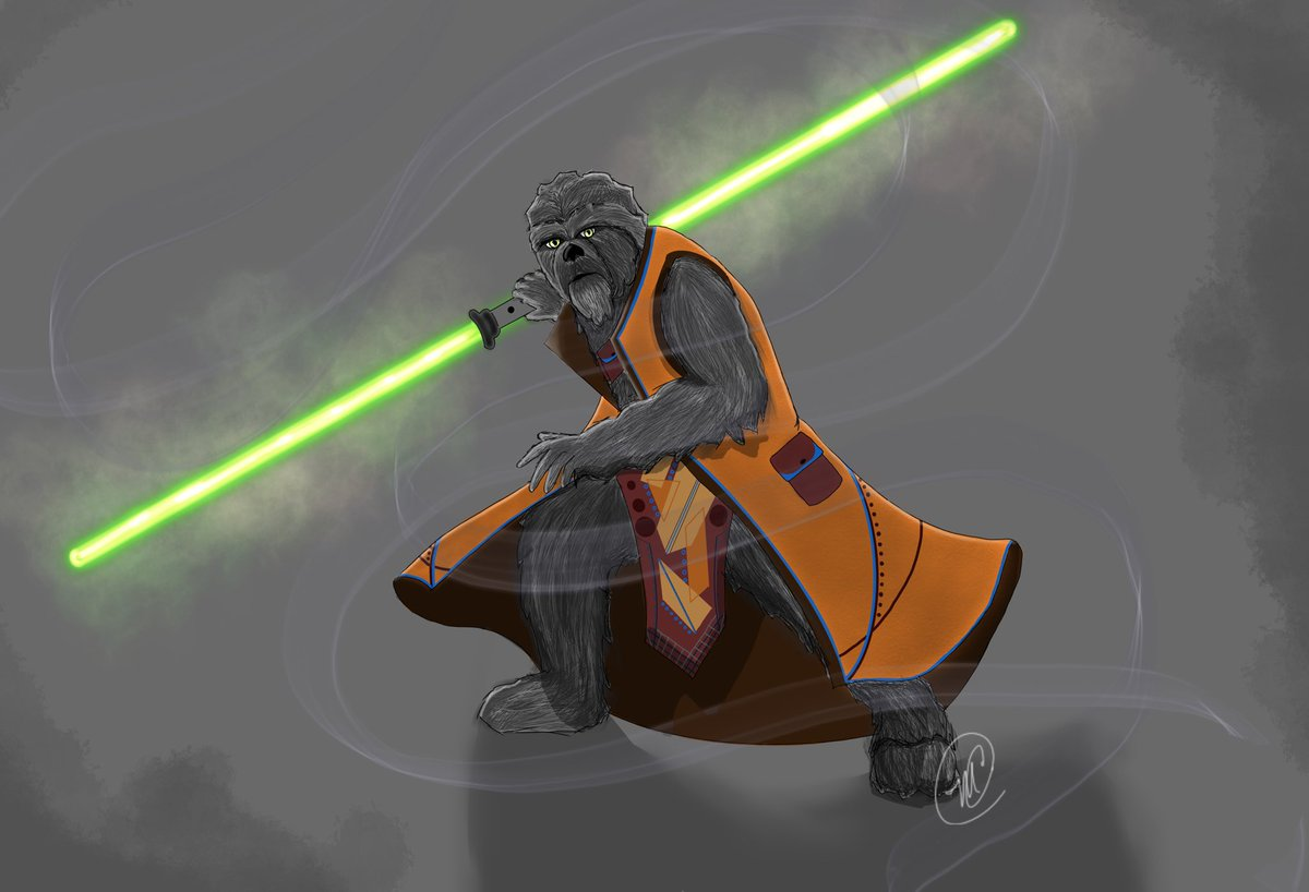 Wookiee Jedi... some D&D art! #dungeonsanddragons #art #StarWarsDay #jedi #digitalart