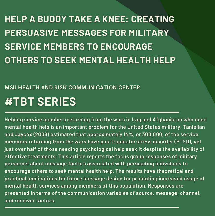 This week's #TBT comes from Dr. Sandi W. Smith, the former Director of the Health and Risk Communication Center and University Distinguished Professor in the Department of Communication at Michigan State University.   Read more here: