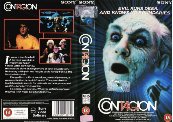 Original rental vhs artwork of the horror film #Contagion starring John Doyle and directed Karl Zwicky #tbt #artwork