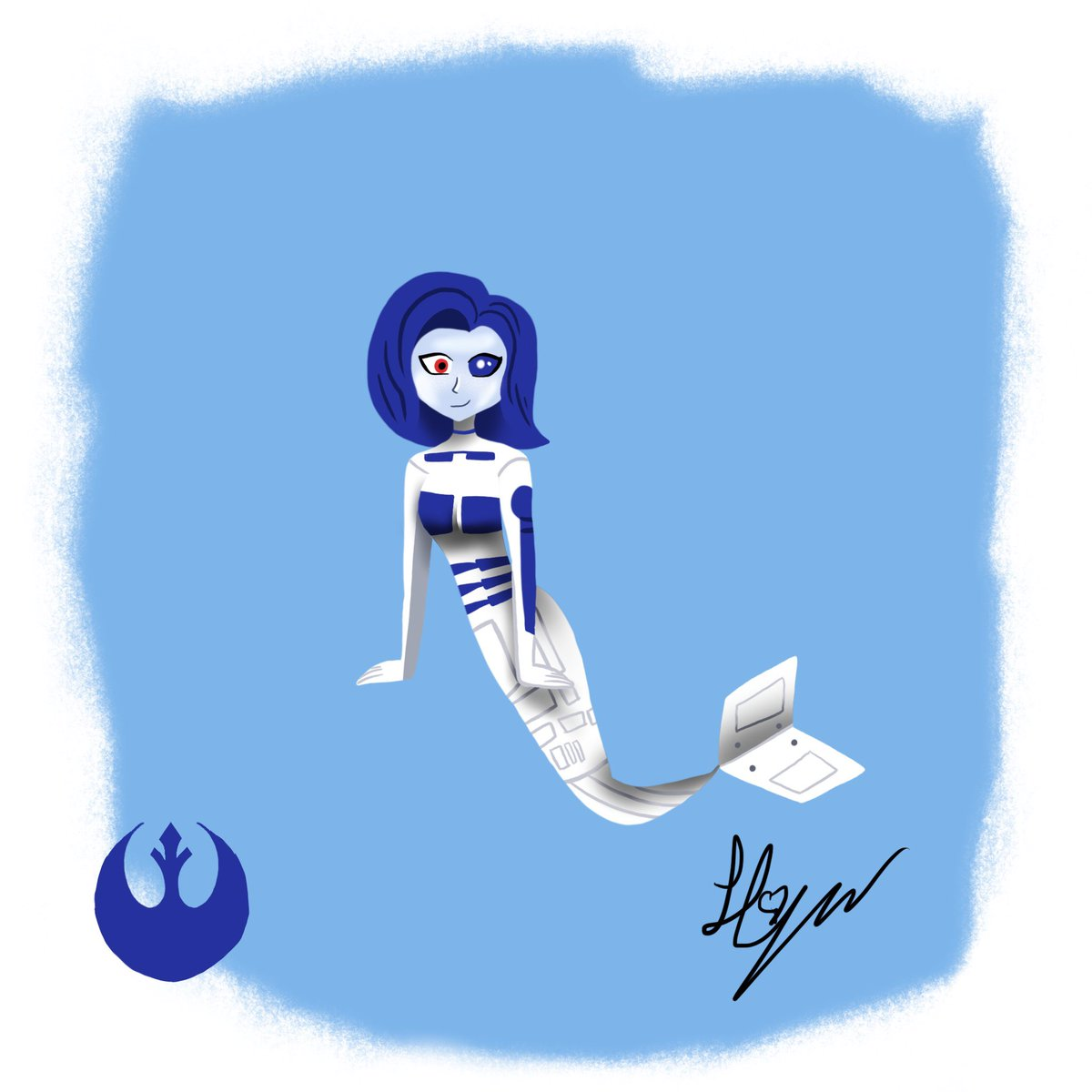 Mermay the 4th be with you! Have a genderbent R2D2 mermaid! Any requests for the MerMay revenge of the 5th? #mermay #mermay2021 #mermayprompts #mermaychallenge #starwars #r2d2 #maythe4thbewithyou #r2d2art