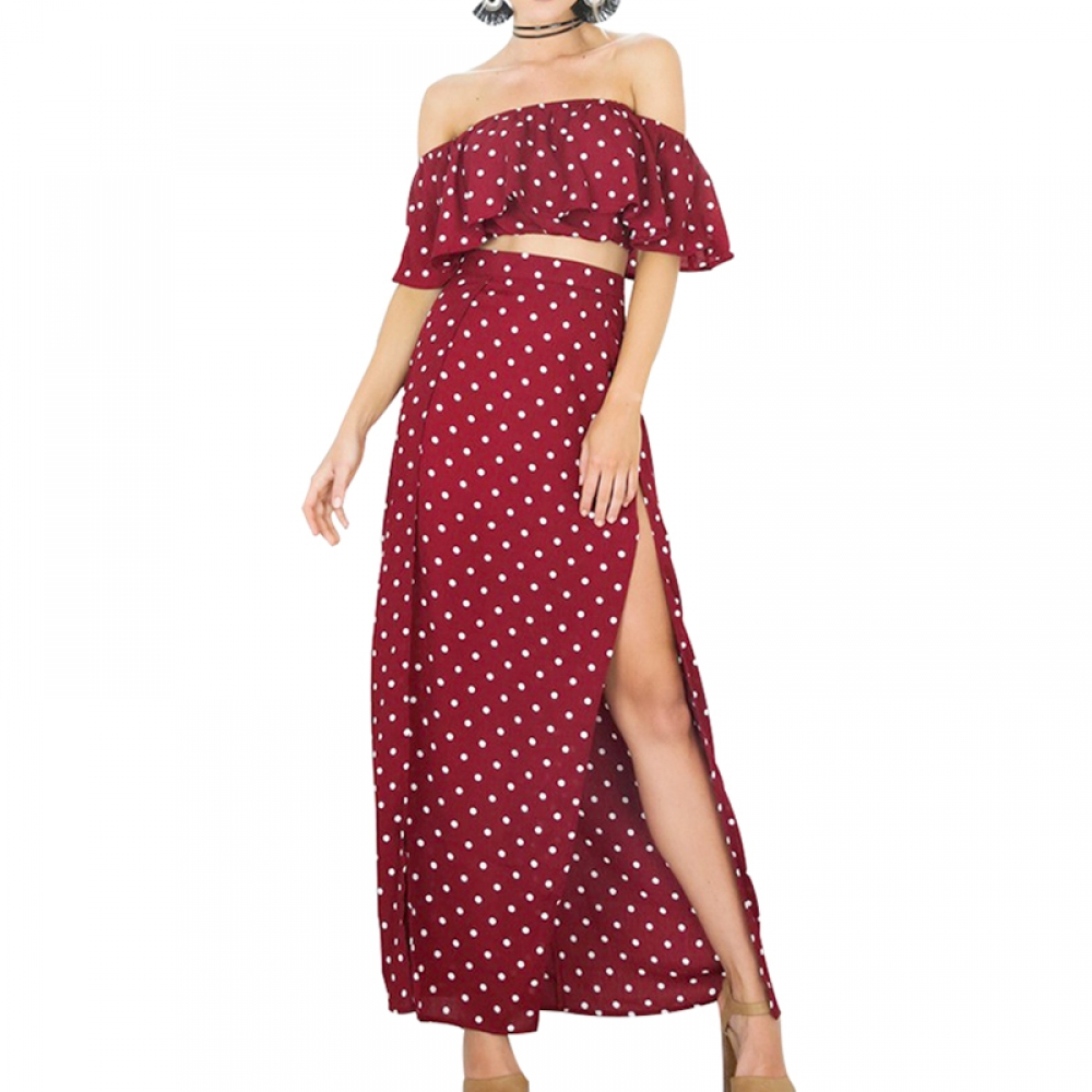 #life #getoutside #amazing Women's Ruffled Dot Patterned Crop Top Dress