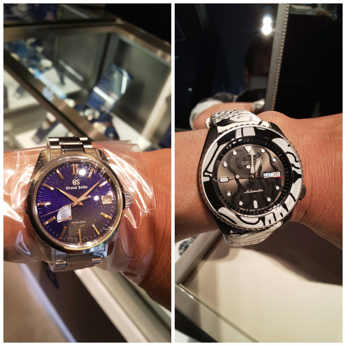 メンズ腕時計が好きなんです倶楽部の部活をしに、銀座に行ってきた。 ロレックスは三越と大丸以外は開いてて、意外なことに空いてました。 でも、今日のお目当てはこの2つ、GS銀座限定とSEIKO5オートモアイです。オートモアイは300本限定の方は完売でした。両方共に試着できて良かった。😀 #SEIKO https://t.co/LnucR2qL6D