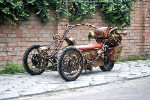 #Bike 🏍️ Awesome of the Day ⭐ ➡️ #Steampunk ⚙️ Brass Three-wheeled #Motorbike 🚲 via @thpat #SamaBikes ➡️ View More #SamaCollection 👉 https://t.co/Kugls3IJqU