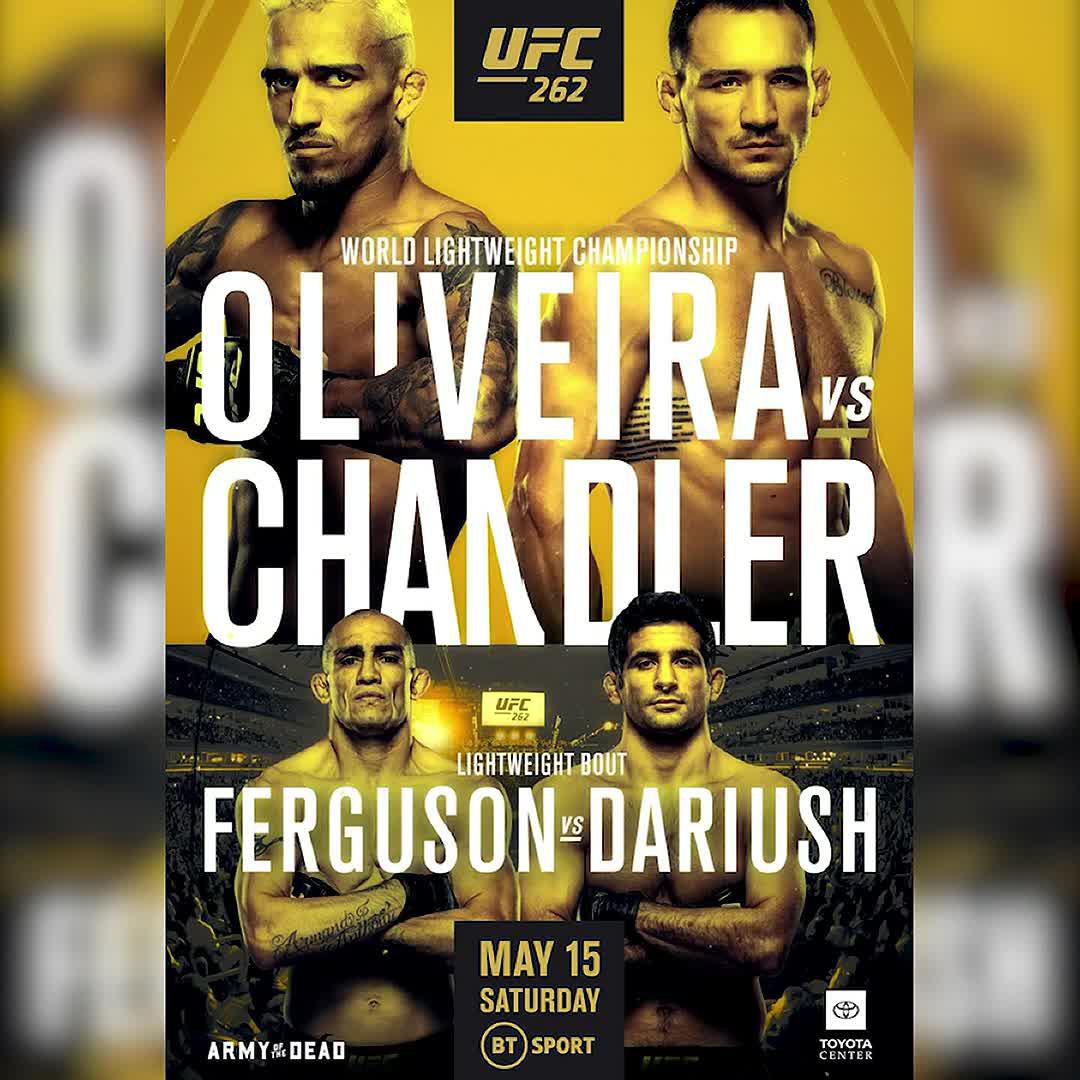 IT'S FIGHT DAY! 🔥  🏆 Oliveira 🆚 Chandler 💥 Ferguson 🆚 Dariush  Bring it on! 🙌  #UFC262 | Prelims 1am | Main Card 3am | BT Sport 1 HD https://t.co/tcieA4vSnL