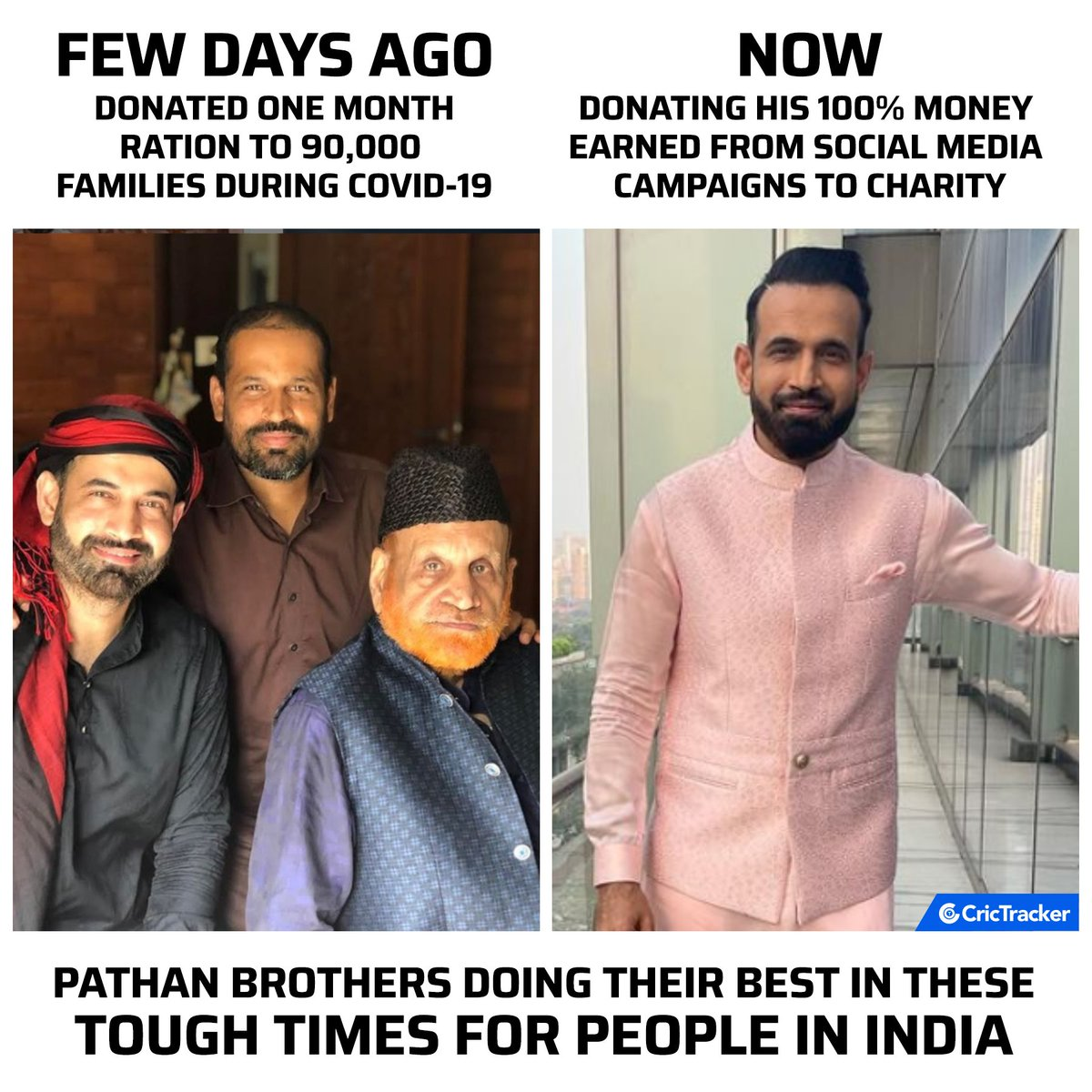"""CricTracker on Twitter: """"Irfan Pathan has decided to donate his 100% of money earned from social media campaigns to charity. #IrfanPathan #Cricket #CricTracker #COVID19… https://t.co/tSNgZXSsiP"""""""