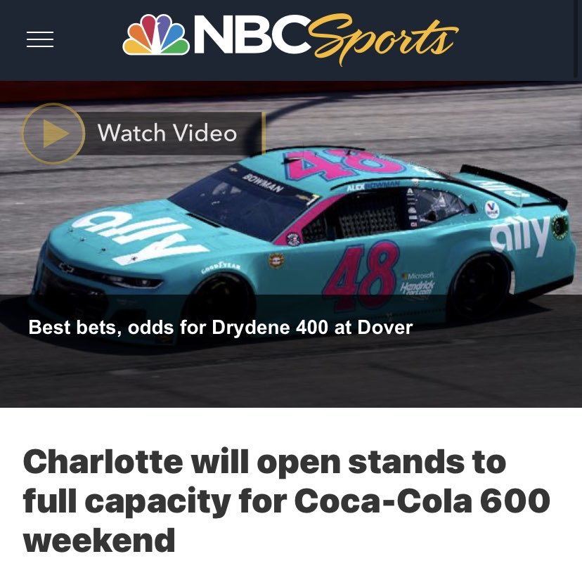 RT @CortesSteve: NASCAR at Charlotte with full capacity and no mask requirements.   Let's go! https://t.co/0AfoPL6e24