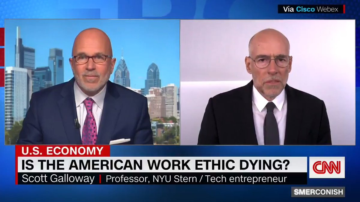 """""""If you want morepeople to come to work, you gotto raise wages and you got tomake the trade better.You got to make work better forpeople,"""" NYU professor and entrepreneur Scott Galloway tells @smerconish."""