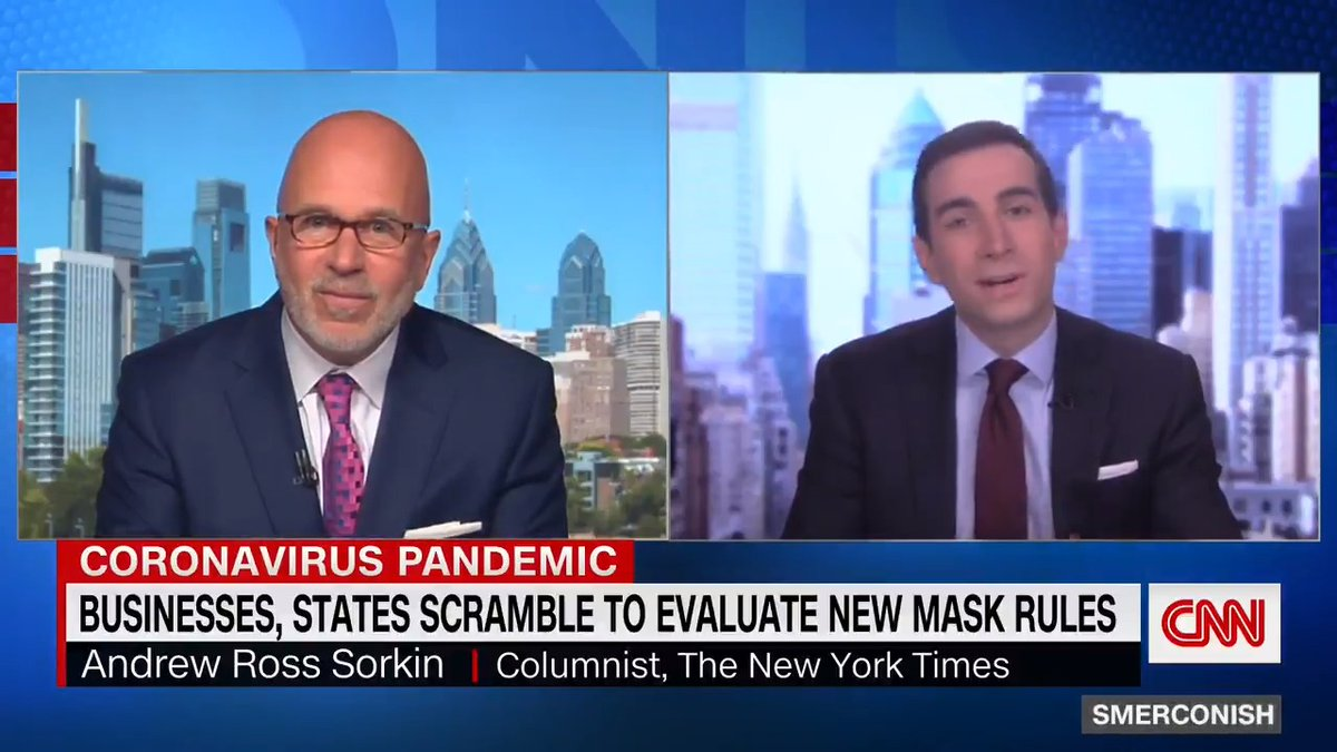 """""""What's taken place thelast 72 hours is both great newsin so many ways, but alsocomplicated news for businessesthat now are being askedeffectively to police their ownemployees and their owncustomers,"""" @andrewrsorkin tells @smerconish about new CDC mask guidance."""
