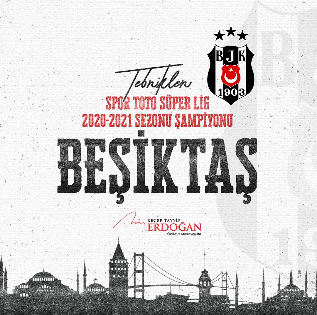 Spor Toto Süper Lig 2020-2021 sezonu şampiyonu olan @Besiktas'ı ve tüm Beşiktaş taraftarını canı gönülden tebrik ediyorum.