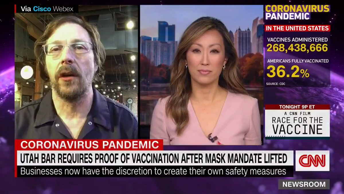"""""""I can't be a part of makinganyone sick.And so we have a responsibilityfor our customers, even if theywon't take a responsibility forthemselves,"""" says Mark Alston, co-owner of Utah restaurant that requires proof of vaccination."""