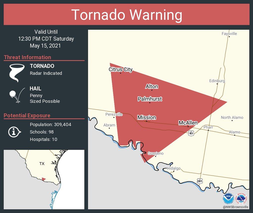 RT @NWStornado: Tornado Warning including McAllen TX, Mission TX, Alton TX until 12:30 PM CDT https://t.co/ogWXXACQdi