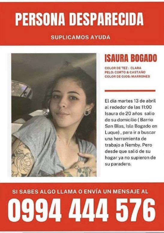 """Fergo🌎 on Twitter: """"Isaura Bogado, sigue desaparecida. Favor compartir y  para cualquier información, los datos en el flyer. #DondeEstaIsaura…  https://t.co/Bj1zodgfvh"""""""