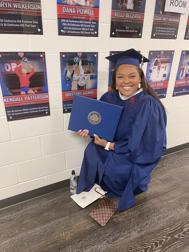 SMU Volleyball would like to congratulate former player and graduate assistant Brittany Adams for receiving her Masters Liberal Studies with a concentration in media, communication, and technology.