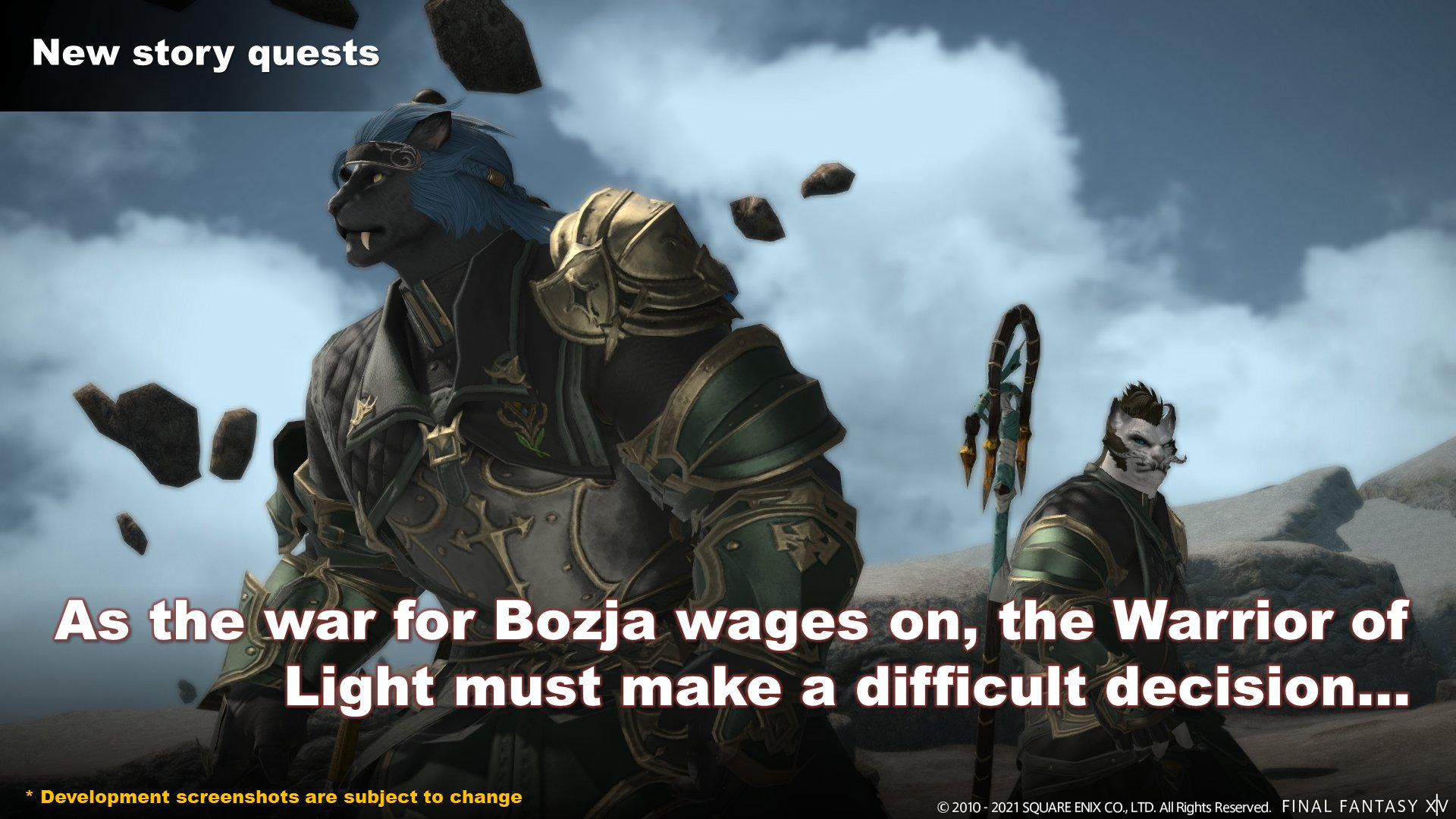 New story quests. Subtitle text reads: As the war for Bozja wages on, the Warrior of Light must make a difficult decision...