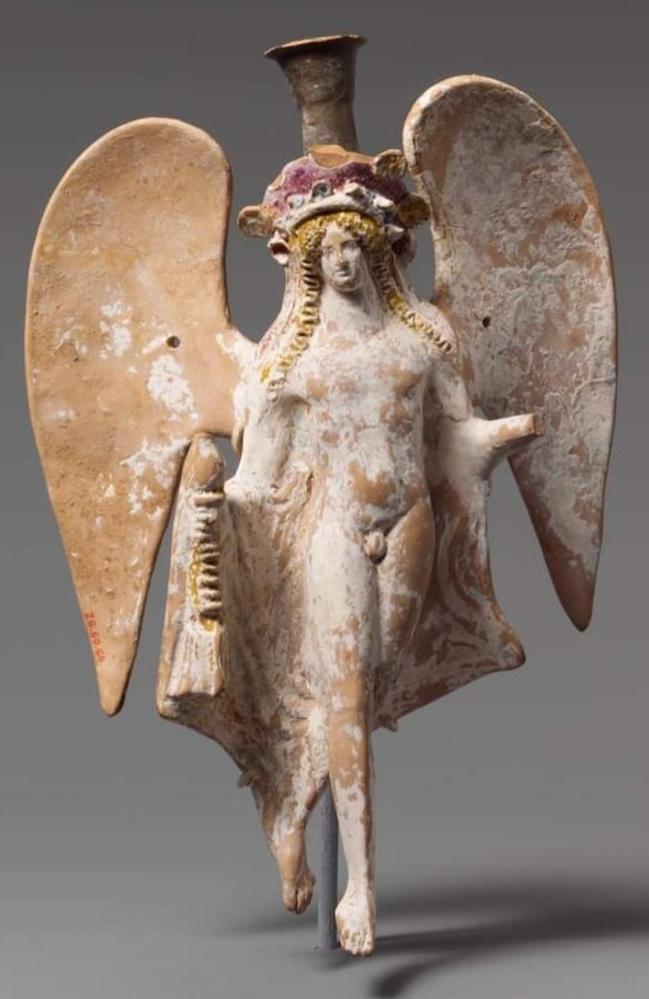 4th century BCE Attic terracotta lekythos (oil flask) in the form of Eros. Metropolitan Museum of Art, New York. https://t.co/5GaFopiVUf https://t.co/shEm54LK9b