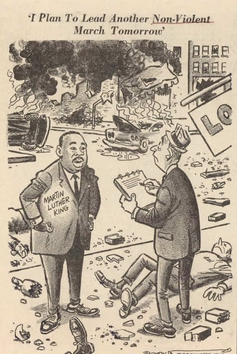 """A cartoon from the 1960s. My father wasn't beloved by America. In 'Letter From Birmingham Jail,' he responded to 8 white clergy who took issue w/the nonviolent campaign he was leading in Birmingham. He wrote of """"white moderates"""" who were """"more devoted to order than to justice."""" https://t.co/jwmVC3qXk7"""