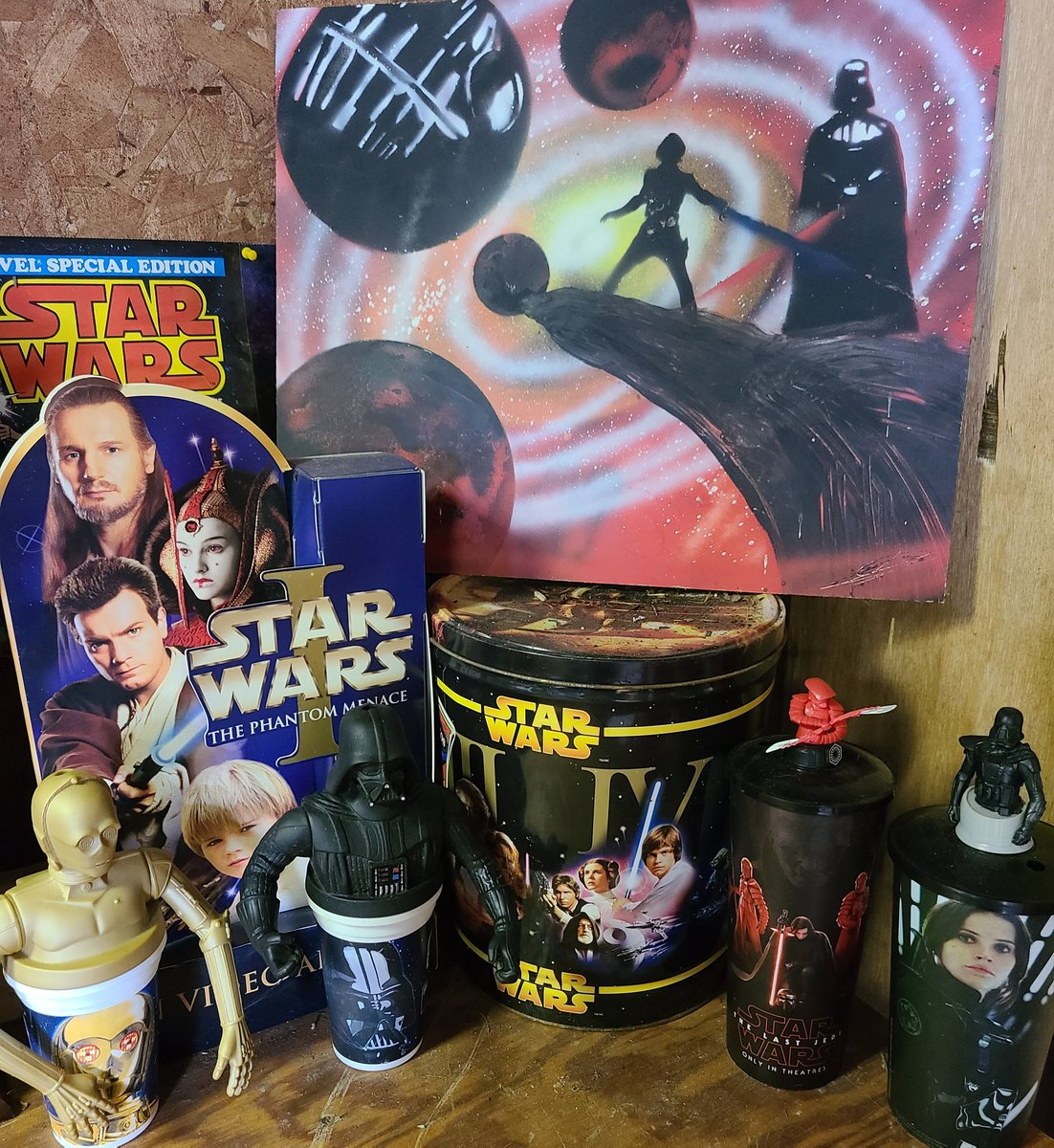 "Something different today! My house is small and I don't really have ""Man Cave"" persay BUT my ""Man Barn"" has some cool things in it! Some of you may not know that I am even bigger into Star Wars then I am Pokemon!  #starwars #maythe4thbewithyou  #starwarsnerd"