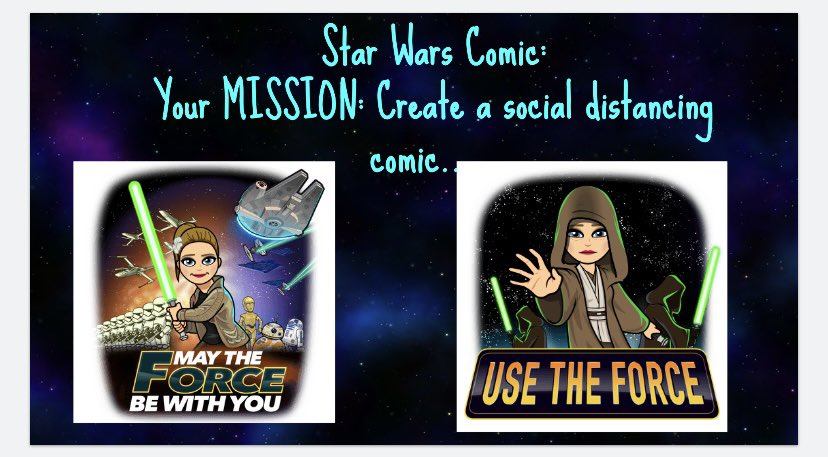 Ok ...so I may have had WAY too much fun with this one... Ss were asked to create a Star Wars comic based on social distancing. Let's just say I was SHOOK. 😍 #MayThe4thBeWithYou #latepost .. cuz you know, virtual teaching 😳 @PFS_YCDSB