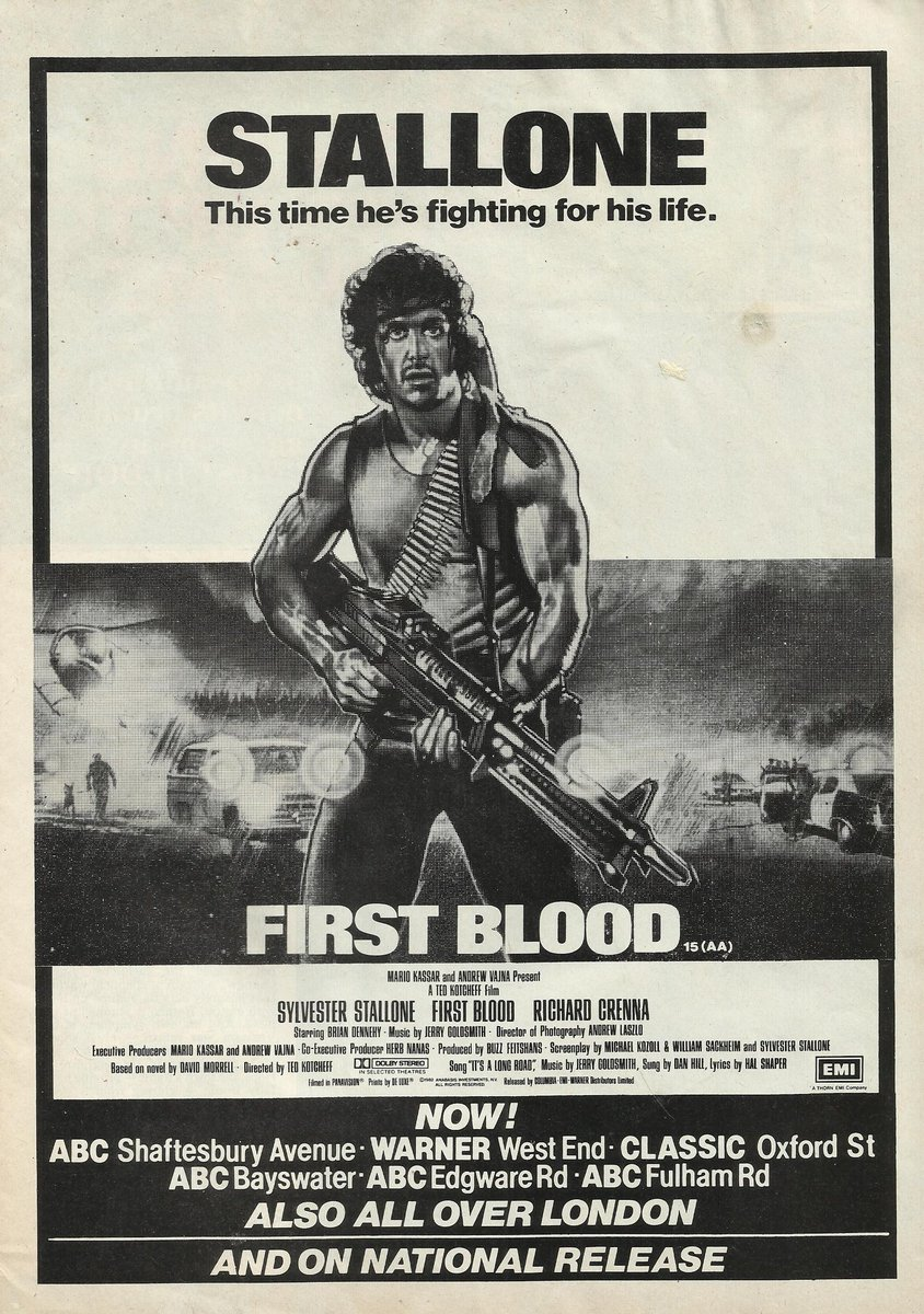 RT @PrintFilm: Sylvester Stallone Richard Crenna & Brian Dennehy in First Blood. Film Review February 1983. https://t.co/LiFTAzAiCS