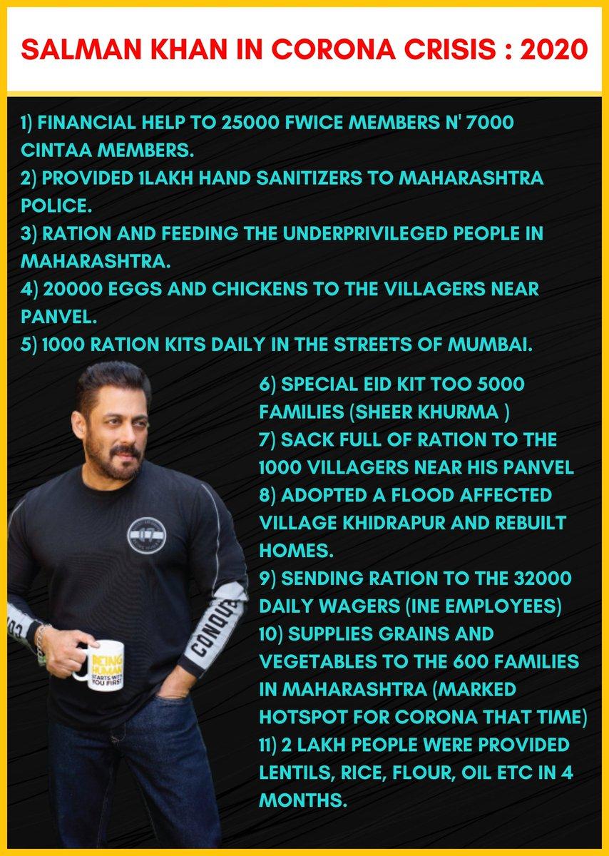 #SalmanKhan's Work In Corona Crisis : 2020 & 2021 WE LOVE YOU SALMAN KHAN https://t.co/Yk3GPBQZo0