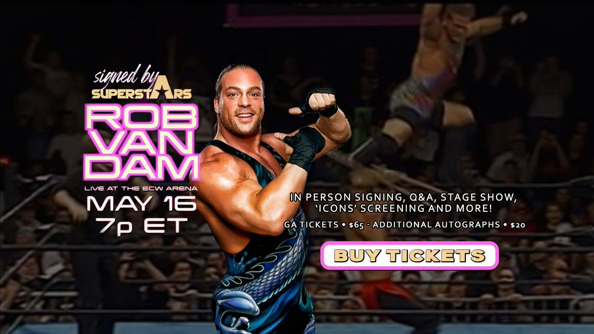 Signed By Superstars brings ECW legend and 2021 WWE Hall of Famer @TherealRVD back to his old stomping grounds TONIGHT at 7PM for an evening of fun entertainment and positive energy! Tix at https://t.co/zzdk4EWWOC https://t.co/9rtBpKn7FR