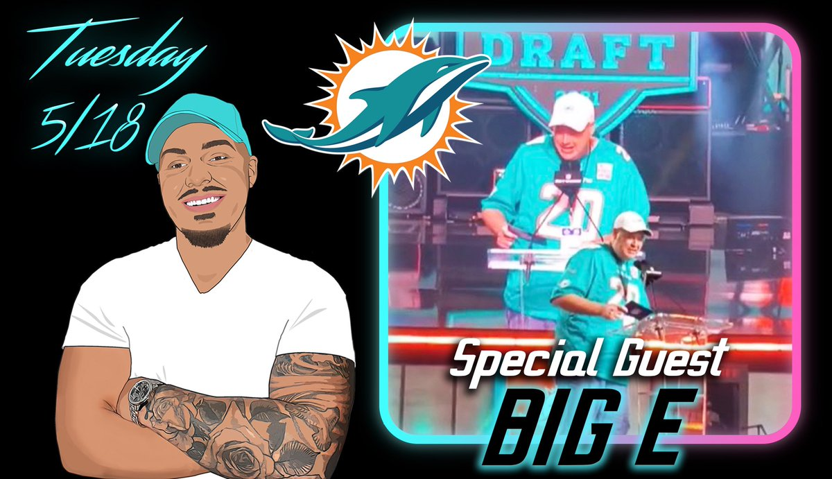 Coming up Tuesday's podcast, 2020 Miami Dolphins Fan of the Year Big E @ian693 will be joining me to talk all things Dolphins, his experiences that came along with being the Fan of the Year, & we go thru the Dolphins schedule and give our predictions on each game & more!🎙🎧 🐬🔥 https://t.co/DLWD8Z9t3I