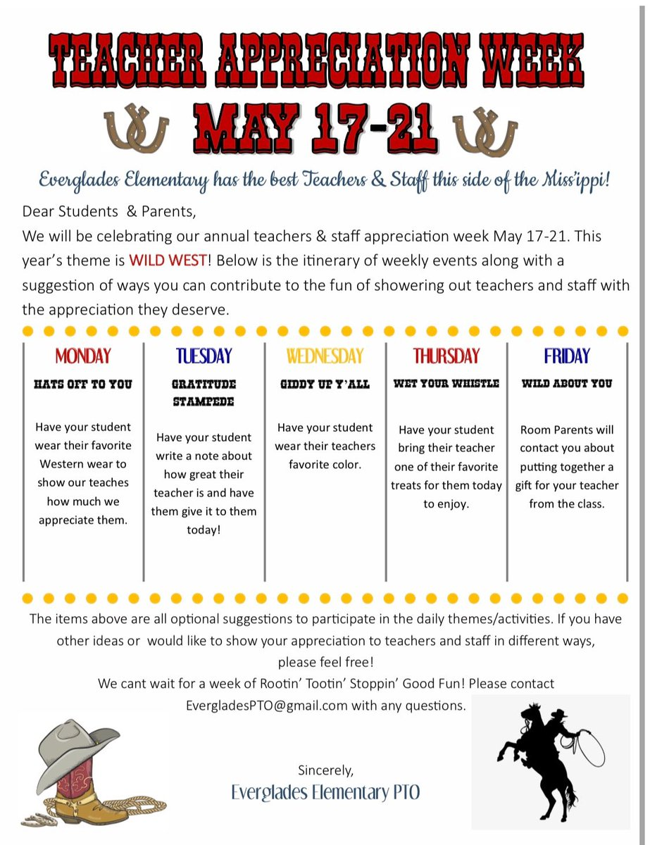 Teacher Appreciation Week starts tomorrow!! Please have your students wear their favorite Western wear. https://t.co/YOjTKLrFGj