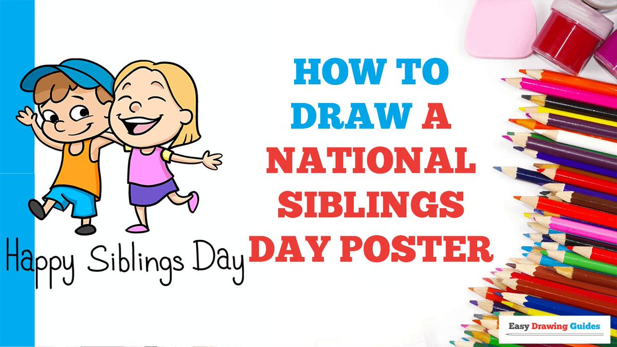 How to Draw a National Siblings Day Poster. Easy to Draw Art Project for Kids. See the Full Drawing Tutorial on https://t.co/RvK8DGLkOX . #NationalSiblingsDay #Poster #HowToDraw #DrawingIdeas https://t.co/GgnnOA2PzW