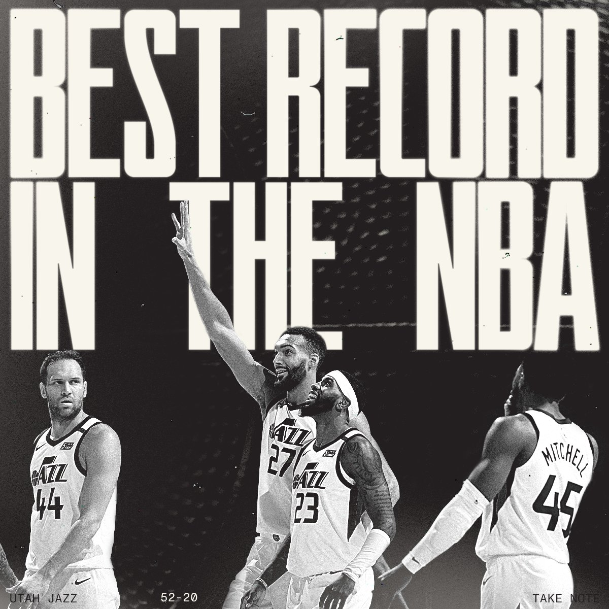 For the first time in franchise history, the Utah Jazz own the best record in the NBA 🖤  #TakeNote https://t.co/DCXzYH5JB3