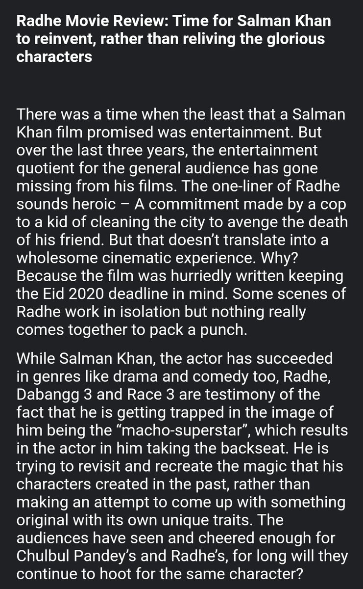 """#Radhe movie review: Time for #SalmanKhan to """"reinvent"""", rather than """"reliving"""" the already protrayed glorious characters.   ⭐⭐ https://t.co/Futj7uOVZC"""