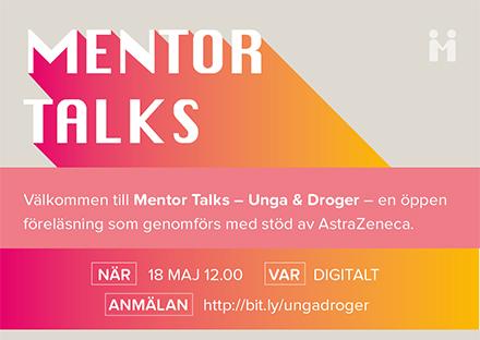 Välkommen till Mentor Talks, en öppen föreläsning om Unga & Droger @MentorSverige som genomförs med stöd av AstraZeneca.  På agendan: Dagens problematik kring droger - och hur du som förälder kan skapa förutsättningar för ditt barn att göra positiva val.  https://t.co/jTDPFpExgt https://t.co/sY5FEpHtFN