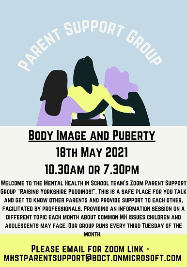 @TrinityAcadBrad are pleased to let parents know that the #MentalHealth in school's team are helping to support your children with their emotional well-being. Parents can access advice to support their child via the support group below, which runs every 3rd Tues each month💛