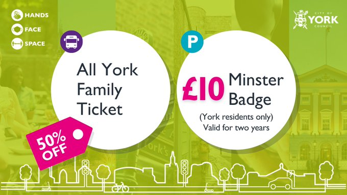 An image with a graphic that displays offers for the All York Family Ticket, which is 50% off and the £10 Minster Badge.