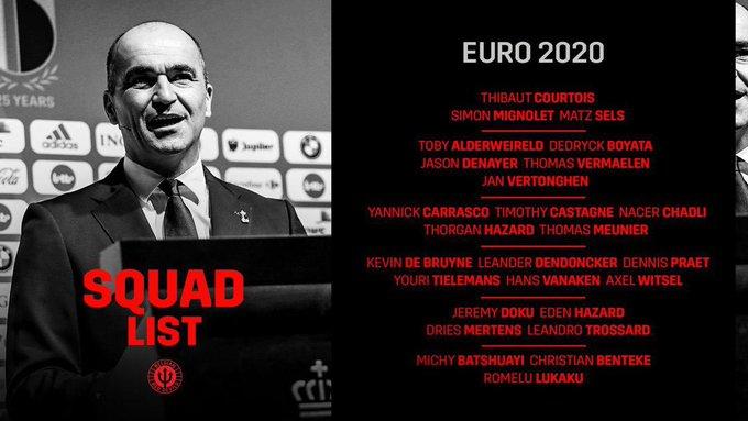رسميًا | قائمة المنتخب البلجيكي لـ يورو 2020